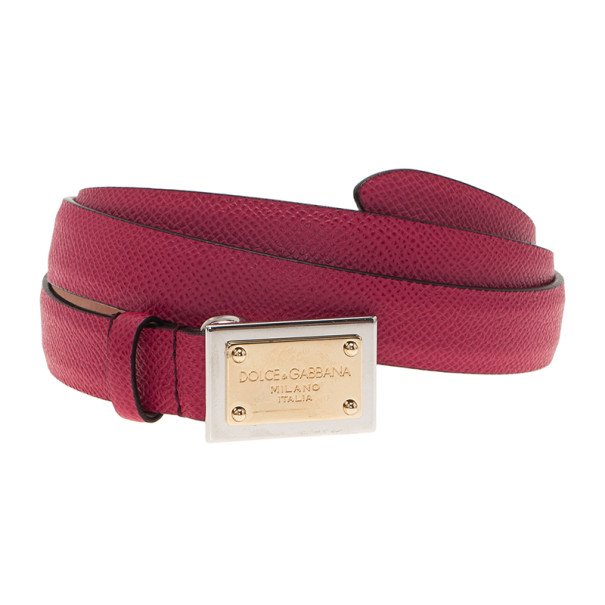 Dolce and Gabbana Pink Leather Logo Plaque Skinny Belt 90CM