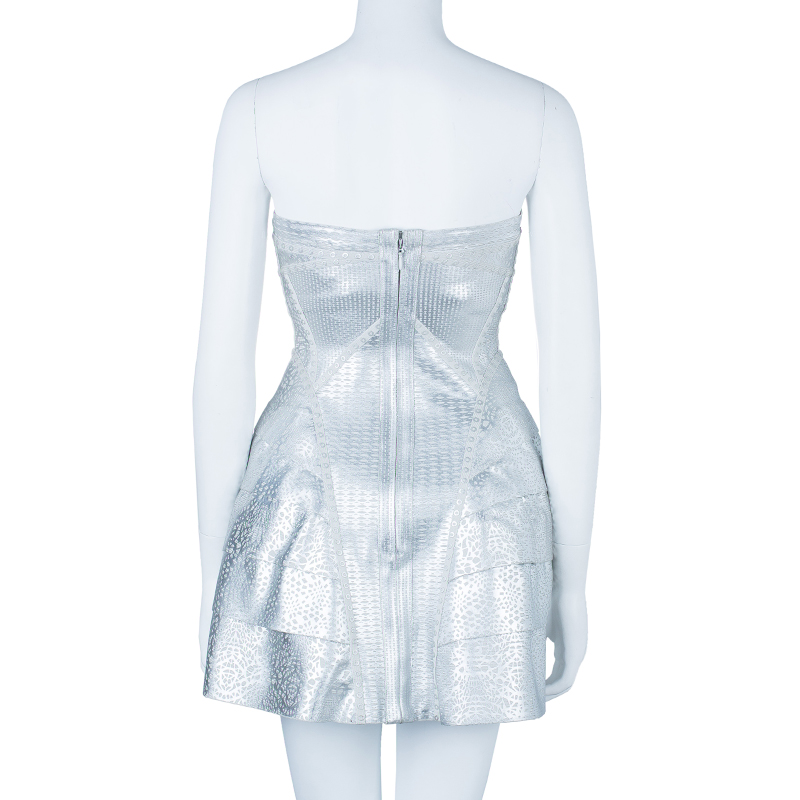 Herve Leger Faux Silver Leather Bandage Dress S