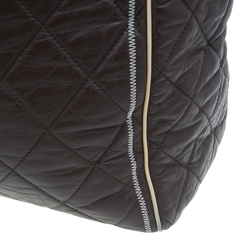Chanel Brown Quilted Leather East/West Large Shopping Tote