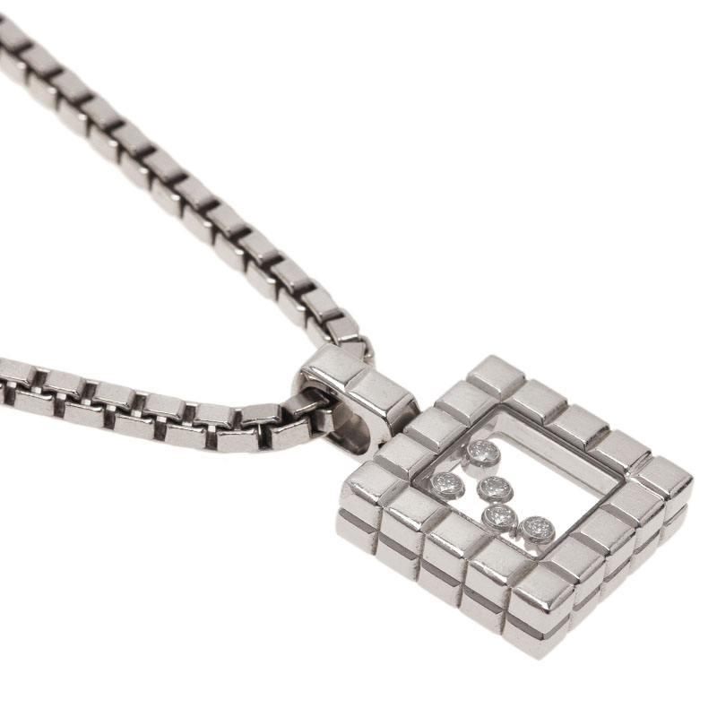 Chopard Ice Cube 5 Diamonds White Gold Pendant Necklace