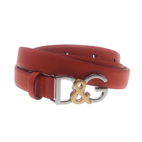 Dolce and Gabbana Coral Leather Logo Belt 95CM