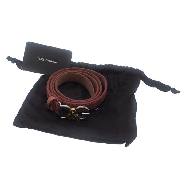 Dolce and Gabbana Pink Leather Logo Belt 85CM