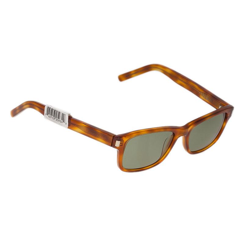 Saint Laurent Paris Tortoise Rectangle Sunglasses