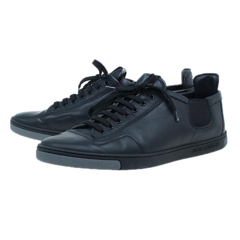 Louis Vuitton Black Leather Logo Sneakers Size 42