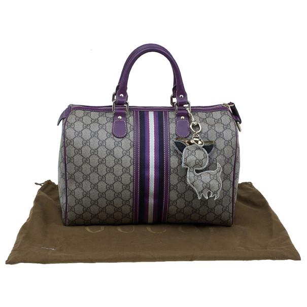 Gucci Limited Edition Purple Stripe GG Monogram Joy Boston Bag