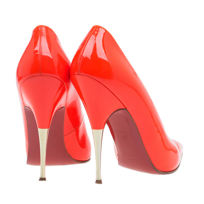 Christian Louboutin Orange Patent Lola Pumps Size 36.5