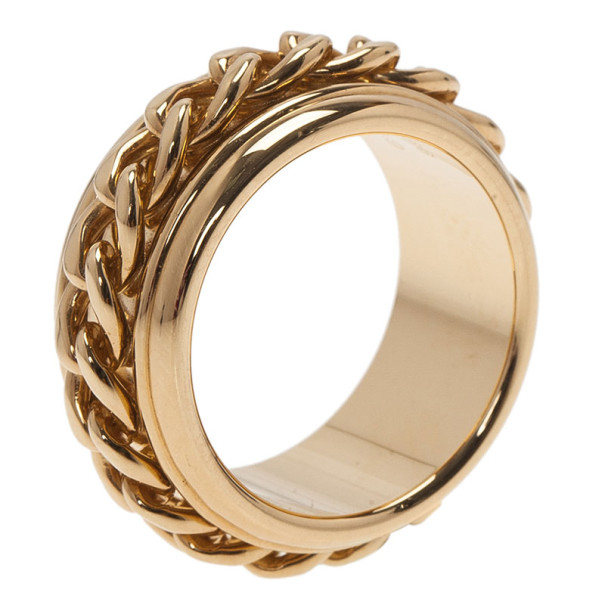Piaget Possession Chain Motif Yellow Gold Ring Size 56