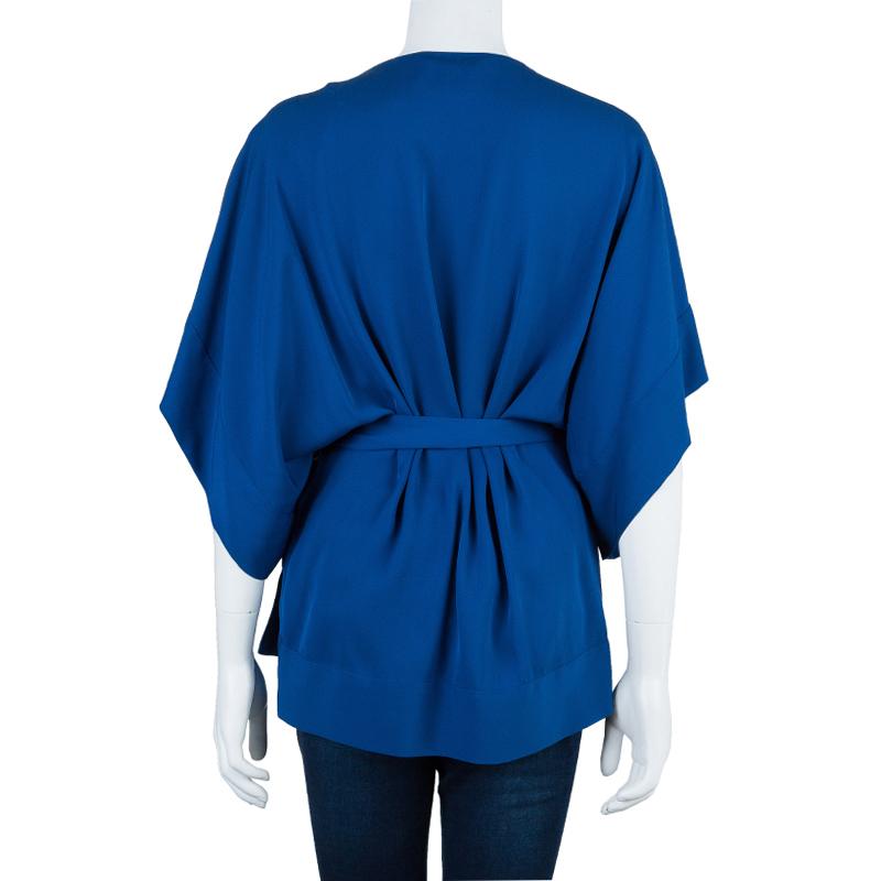 Diane Von Furstenberg Blue Silk Kallina Belted Top M