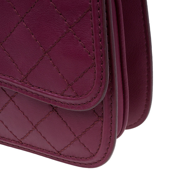 Chanel Red Leather Double Stitch Shoulder Bag