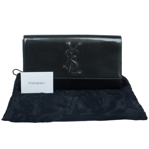 Yves Saint Laurent Green Patent Belle De Jour Flap Clutch