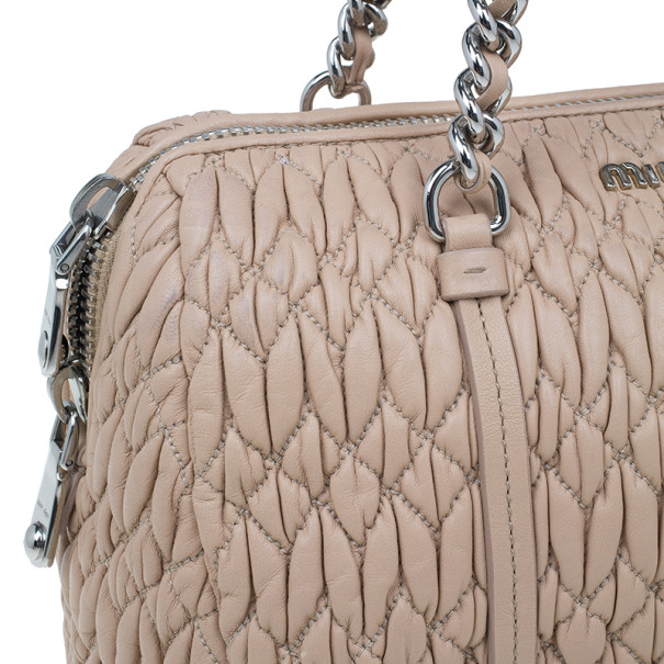 Miu Miu Taupe Lambskin Cloquet Shoulder Bag
