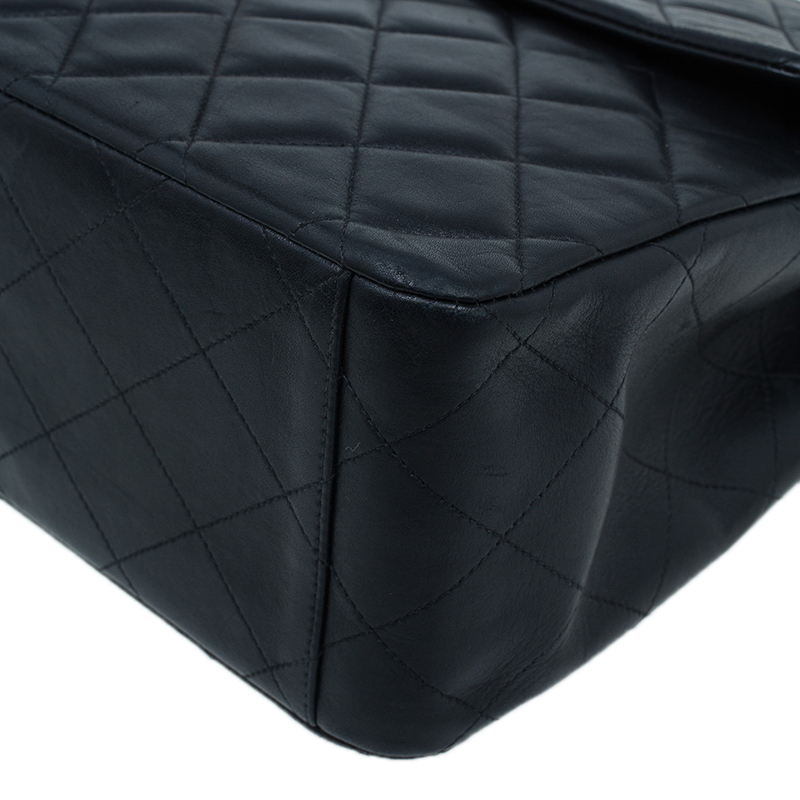 Chanel Black Quilted Lambskin Maxi Vintage Classic Single Flap Bag
