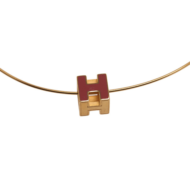 Hermes Cage H Pink Laquered Pendant Necklace