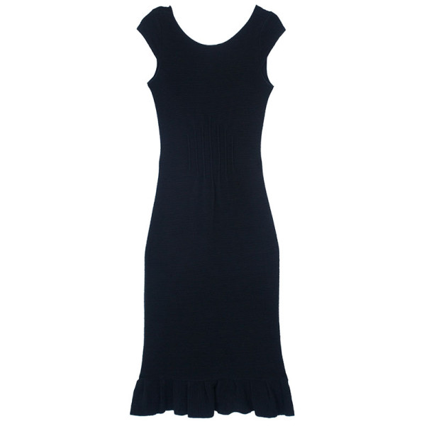 Emporio Armani Fitted Ruffle Hem Dress S