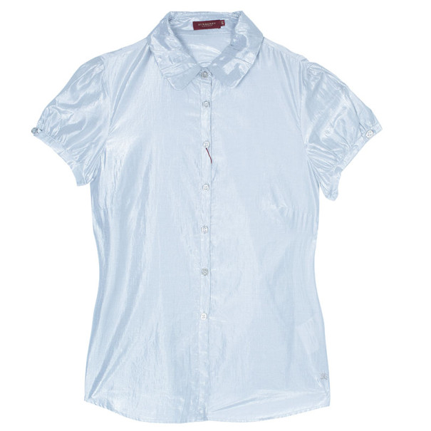 Burberry Silver Short Sleeve Shirt M