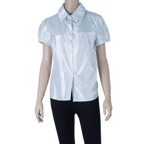Burberry Silver Short Sleeve Shirt M