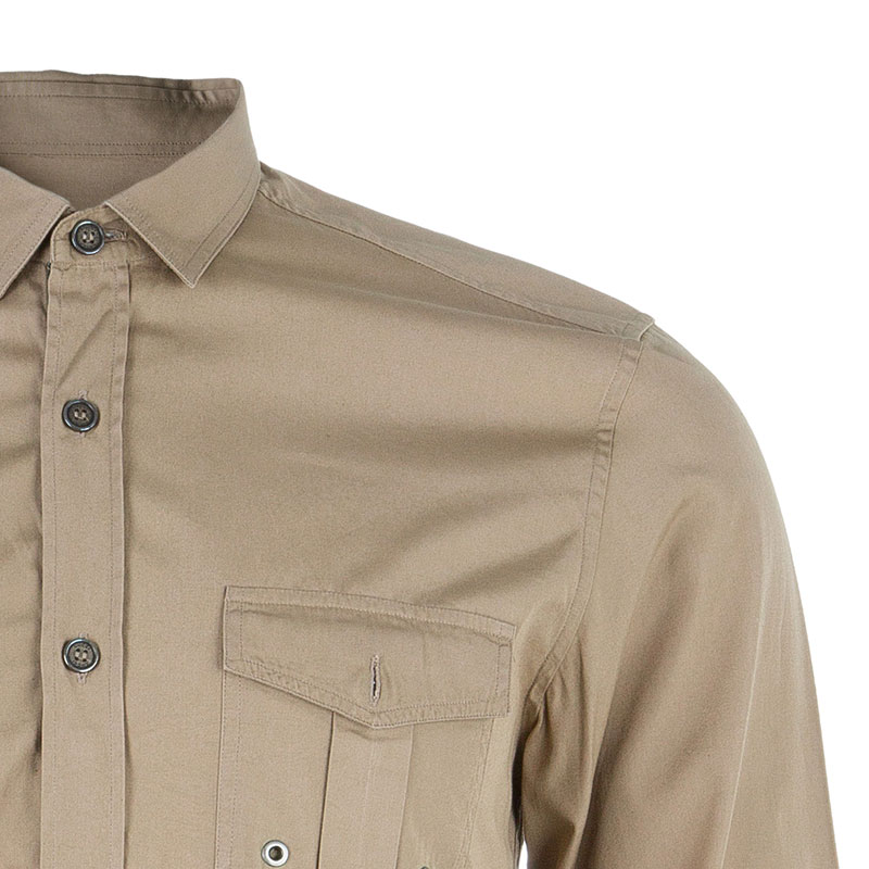 Gucci Men's Beige Cotton Shirt S