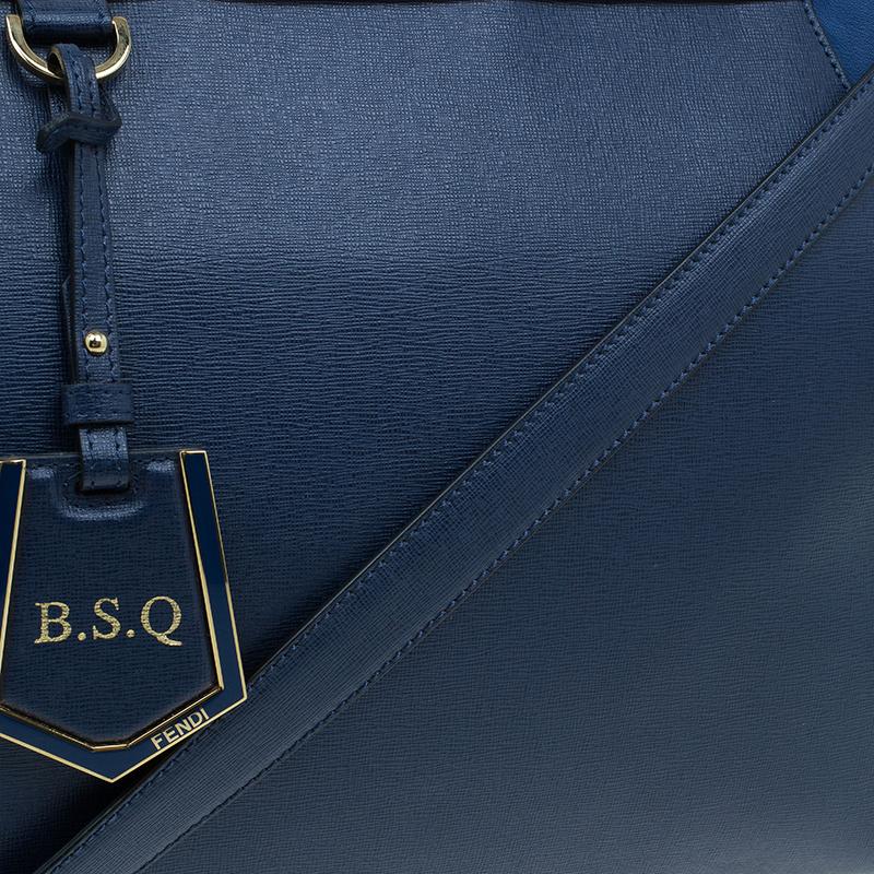 Fendi Blue Saffiano Leather 2Jours Tote