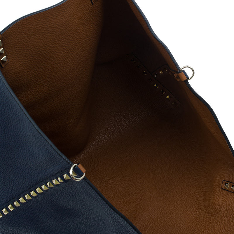 Valentino Dark Blue/Brown Leather Reversible Rock Stud Tote