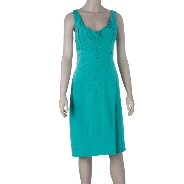 Zac Posen Stretch-silk Pleated Detail Cocktail Dress M