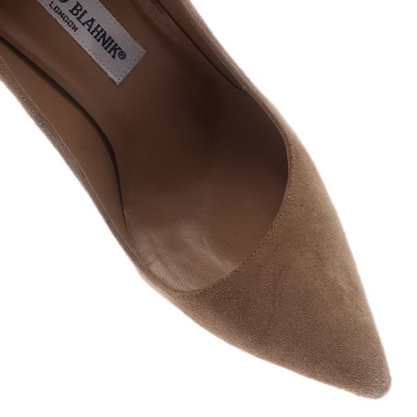 Manolo Blahnik Beige Suede BB Pointed Toe Pumps Size 36
