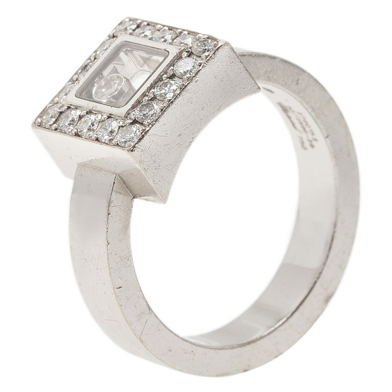 Chopard Happy Diamonds Icon Diamond White Gold Square Ring Size 52
