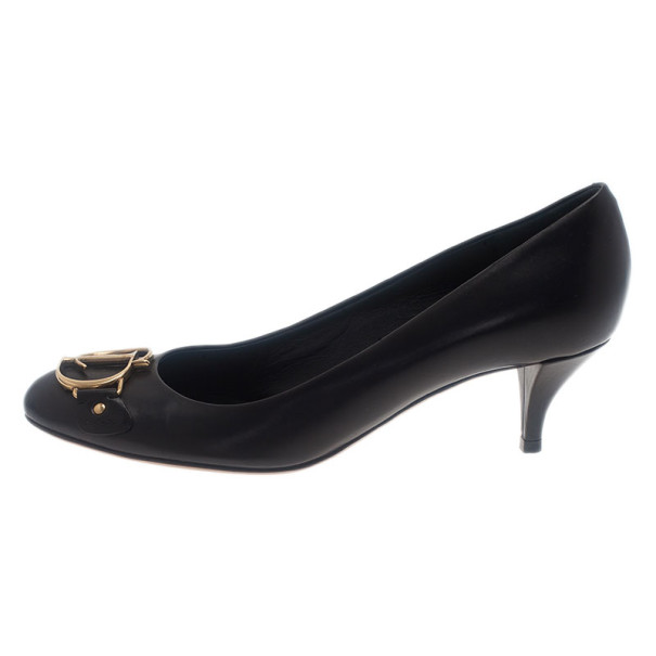 Dior Black Leather Logo Pumps Size 36.5