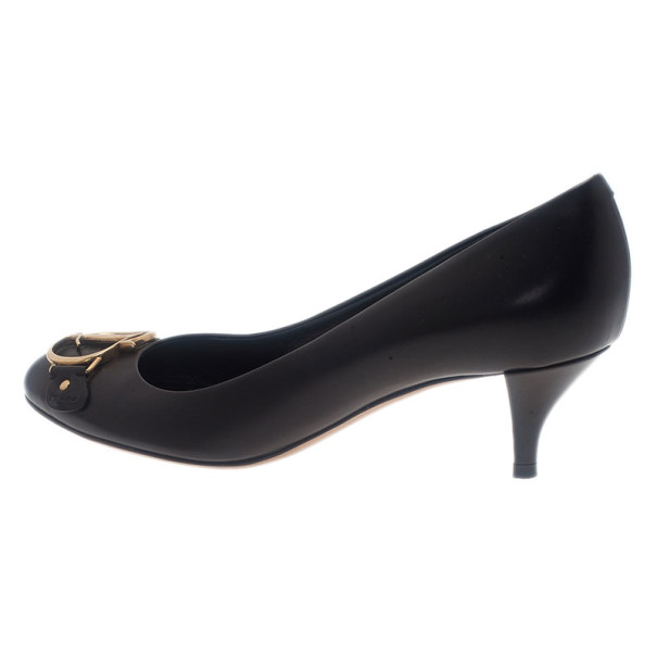 Dior Black Leather Logo Pumps Size 36.5