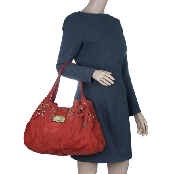 Jimmy Choo Red Suede Ramona Hobo