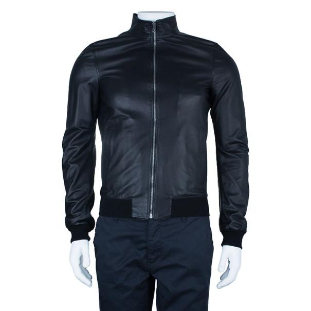 Gucci Black Men's Nappa Leather Jacket S