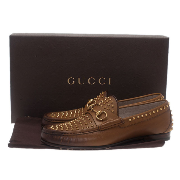 Gucci Brown Leather Studded 1953 Horsebit Loafers Size 41