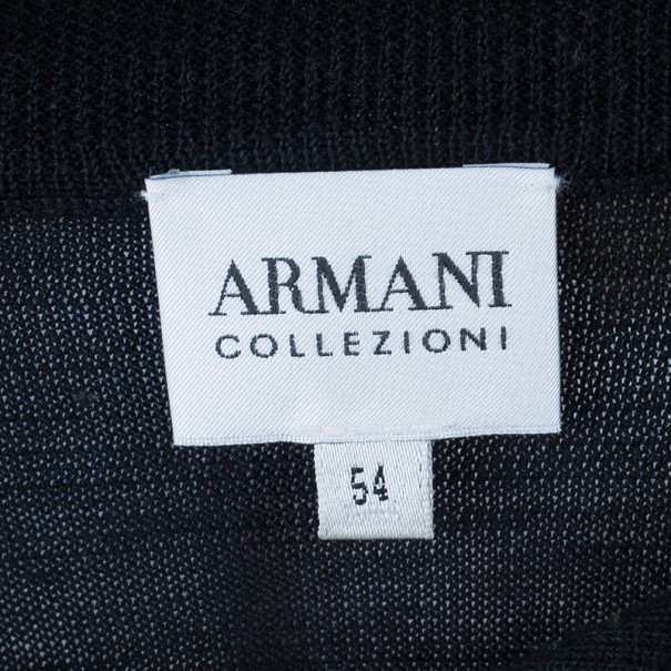 Armani Collezioni Black Long Sleeve Polo Shirt XL