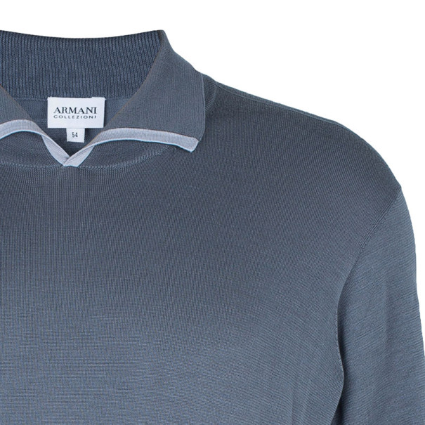 Armani Collezioni Gray Long Sleeve Polo Shirt XL