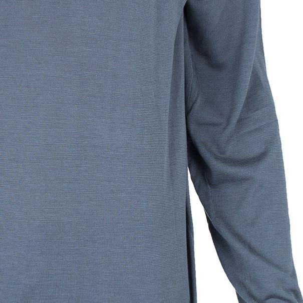 Armani Collezioni Gray Long Sleeve Polo Shirt XL