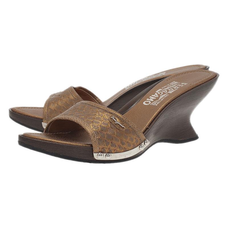Salvatore Ferragamo Silver Python Open Toe Wedge Slides Size 38.5