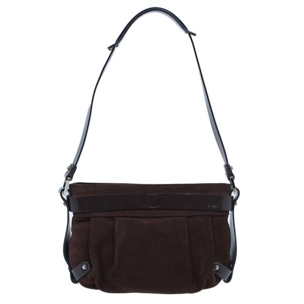 Salvatore Ferragamo Brown Suede Shoulder Bag