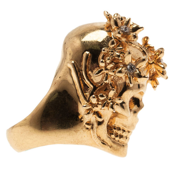 Alexander McQueen Gold Butterfly And Flower Skull Ring Size 53
