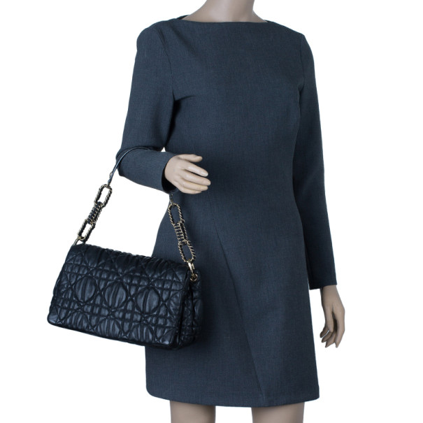 Dior Cannage Quilted Lambskin Large Flap Shoulder Bag