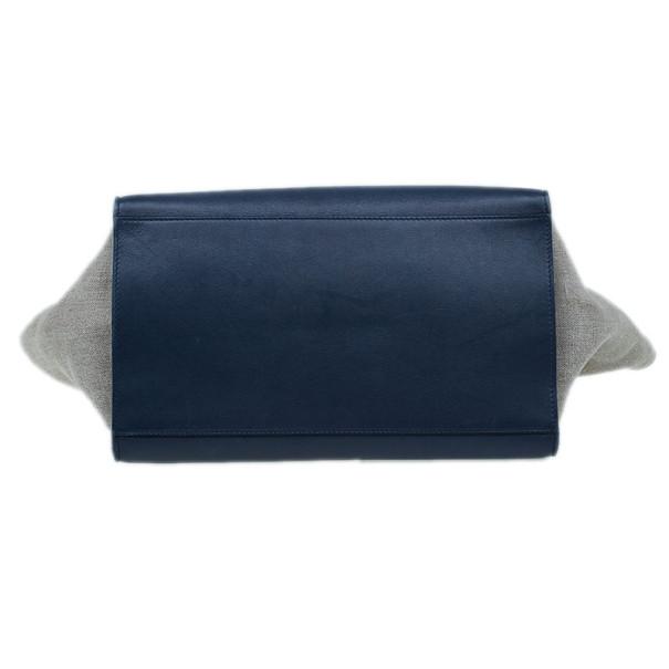 Celine Blue Canvas and Leather Trapeze Shoulder Bag