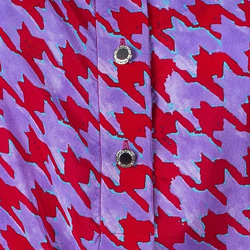 Carolina Herrera Purple Red Houndstooth Printed Top L