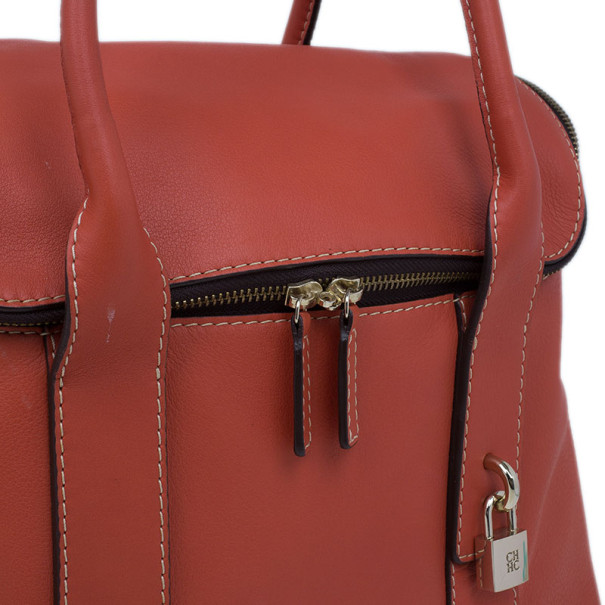 Carolina Herrera Red Leather Zip Around Hobo