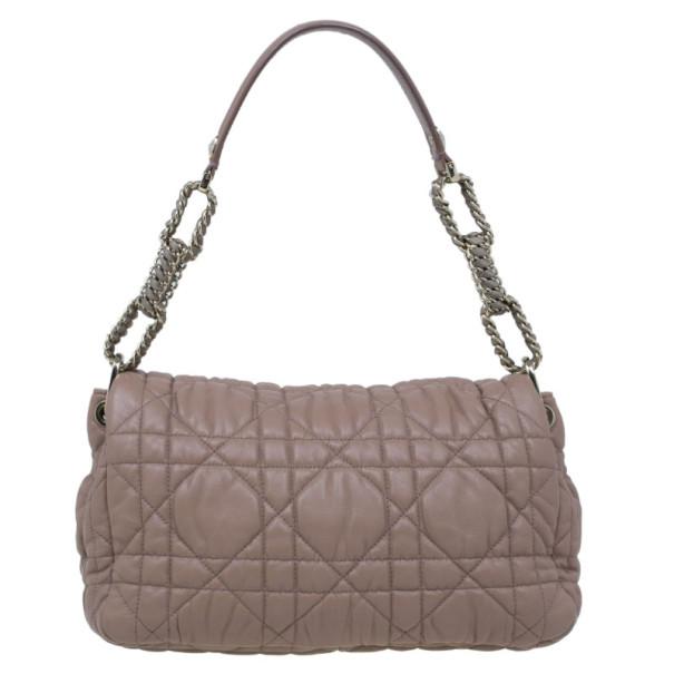 Dior Beige Cannage Quilted Lambskin Large Flap Shoulder Bag