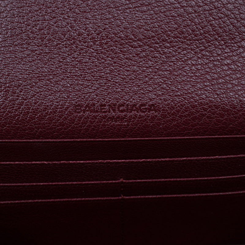 Balenciaga Red Leather Arena Continental Wallet