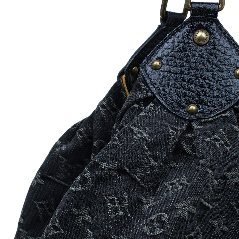Louis Vuitton Black Monogram Denim Large Mahina Hobo Bag
