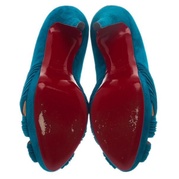 Christian Louboutin Blue Suede Aborina Platform Pumps Size 40