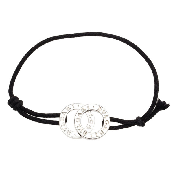 Bvlgari Bvlgari Black Cotton Fabric and Sterling Silver Black Bracelet