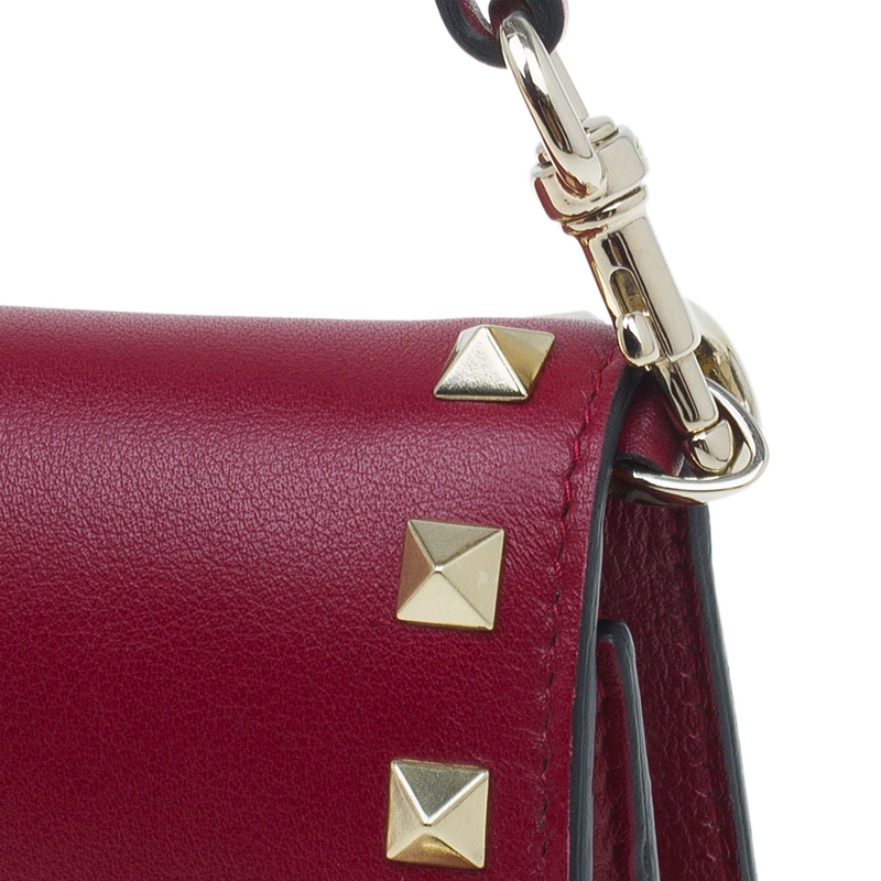 Valentino Red Leather Rockstud Top Handle Wallet