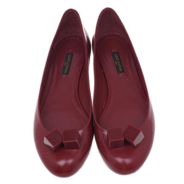 Louis Vuitton Red Leather Gossip Ballet Flats Size 37.5