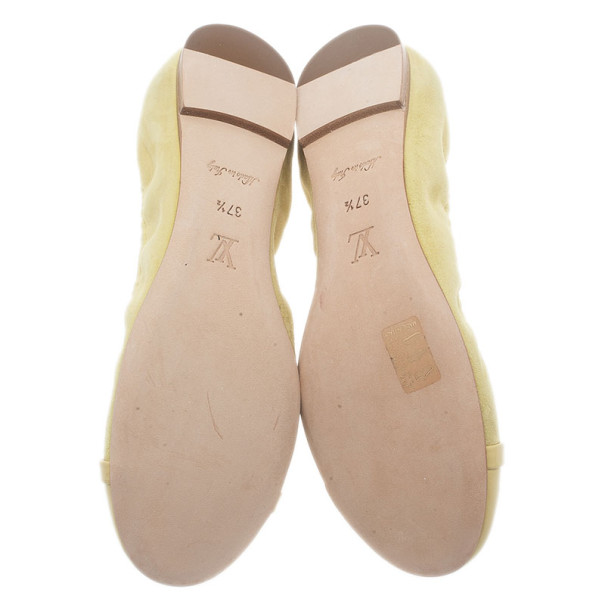 Louis Vuitton Yellow Suede and Leather Elba Ballet Flats Size 37.5