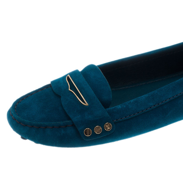 Louis Vuitton Blue Suede Travel Loafers Size 38